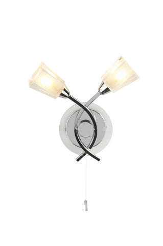 Austin Polished Chrome Double Arm Wall Light - London Lighting