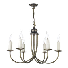 Harlington 6 Arm Chandelier In Aged Brass - ID 3527