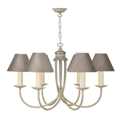 Harlington 6 Arm Chandelier In Cream Gold - ID 2240