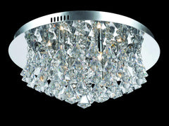 6 Lamp Flush Crystal & Chrome Ceiling Light - ID 2074