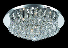 8 Lamp Flush Crystal & Chrome Ceiling Light - ID 2224