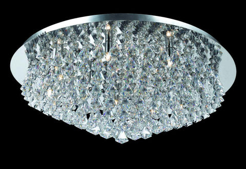 12 Lamp Flush Crystal & Chrome Ceiling Light - ID 2229
