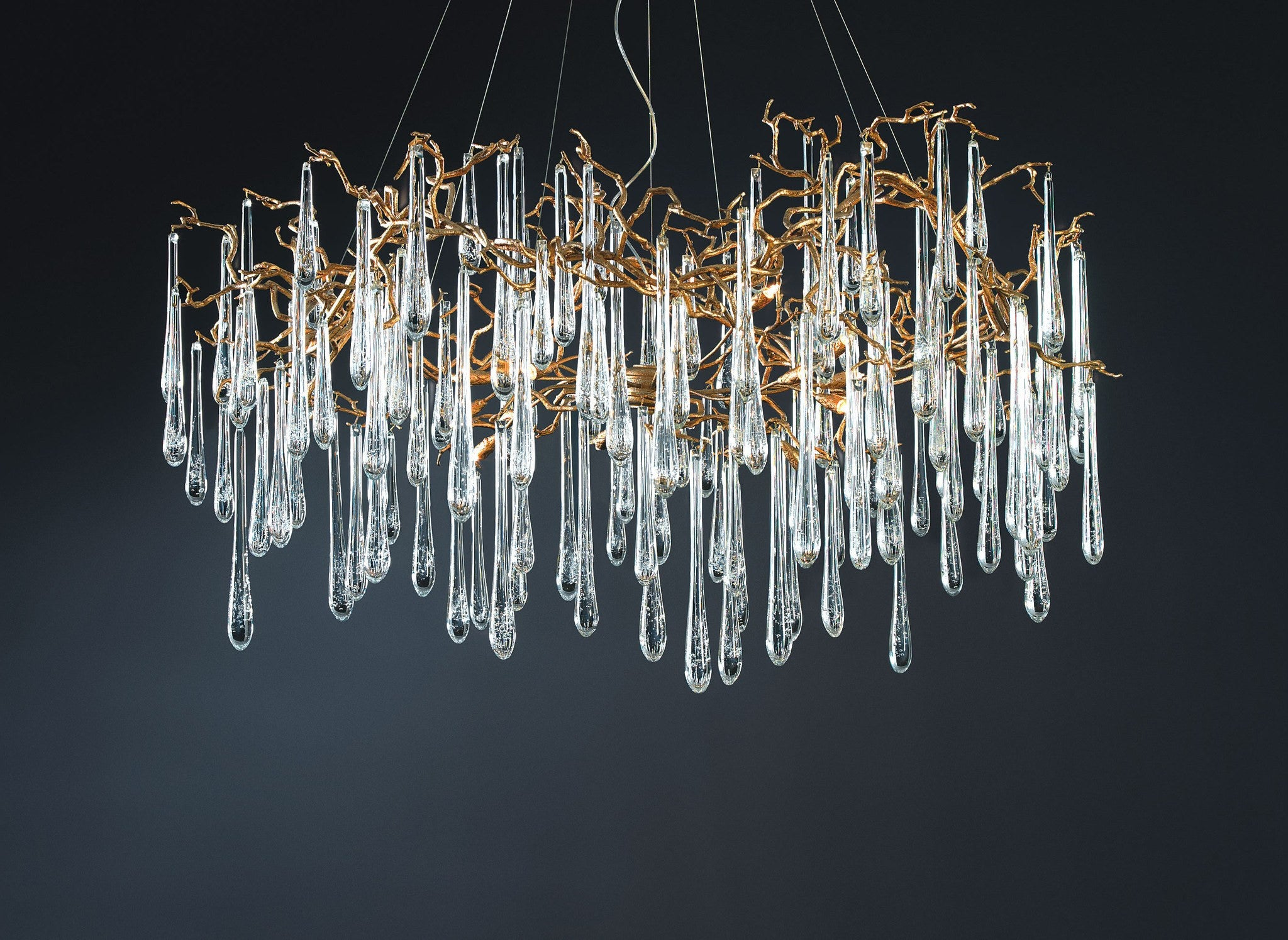 Serip Aqua 15 Lamp Organic Bespoke Chandelier – London Lighting