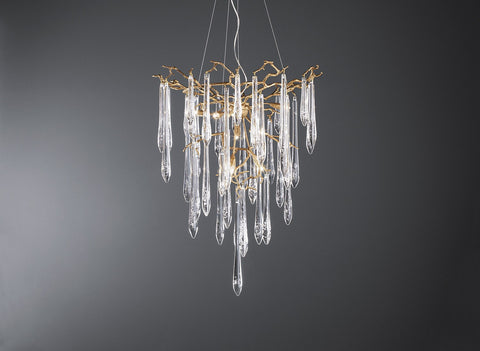 Serip Aqua 8 Lamp Funnel Bespoke Chandelier - London Lighting - 1