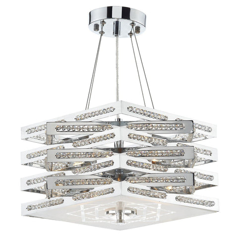 Cube Polished Chrome 5 Lights Pendant Light - London Lighting - 1