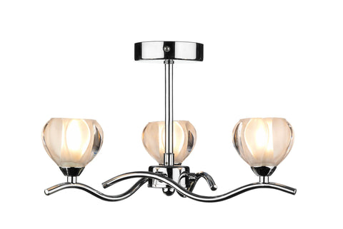 Cynthia Polished Chrome 3 Arm Ceiling Light - London Lighting - 1