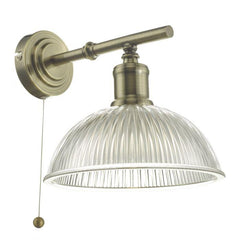 Antique Brass & Glass Wall Light - ID 8616