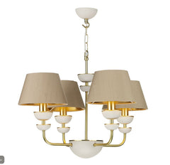 Lunar Brass/Ivory & Taupe/Gold Shade Pendant (With Shade Colour Options) - ID 10173
