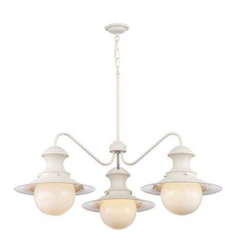 Station 3 Lamp Chandelier  in Cream - London Lighting - 1