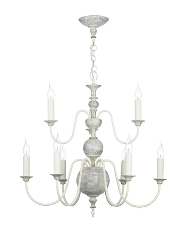 Flemish Distressed Cream 9 Lamp Ceiling Light - London Lighting - 1
