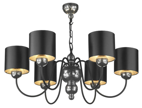 Garbo Pewter & Cream 6 Lamp Chandelier - London Lighting - 1