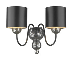 Garbo Pewter & Black Wall Light - London Lighting - 1