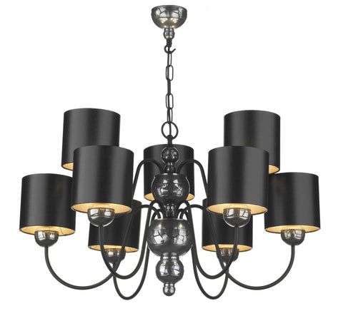 Garbo Pewter & Black 9 Lamp Chandelier - London Lighting - 1