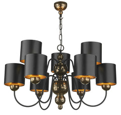 Garbo Bronze & Black  9 Lamp Chandelier - London Lighting - 1