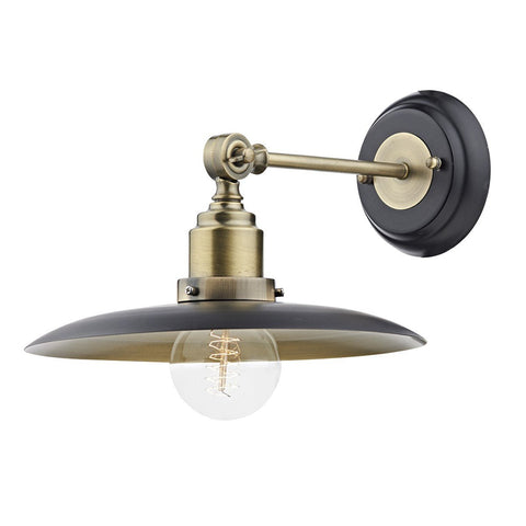Hannover Antique Brass Black 1 Light Wall Bracket - London Lighting - 1