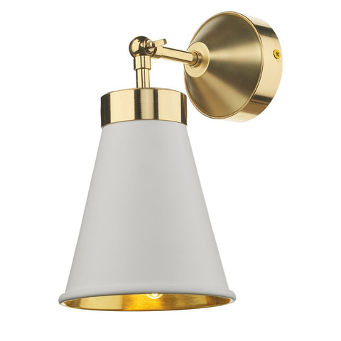 Hyde Brass and White Single Wall Light - ID 7873