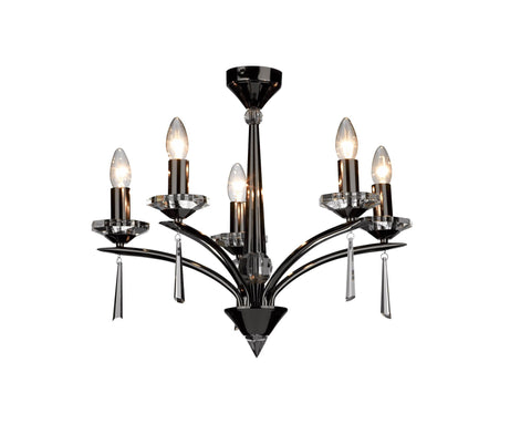 Hyperion Black Chrome 5 Lamp Chandelier - London Lighting - 1