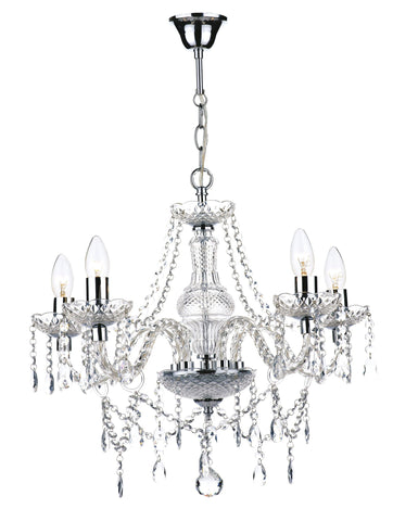 Katie Chrome & Glass 5 Lamp Chandelier - London Lighting - 1