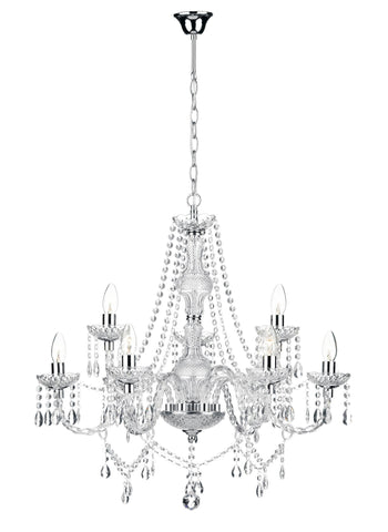 Katie Chrome & Glass 9 Lamp Chandelier - London Lighting - 1