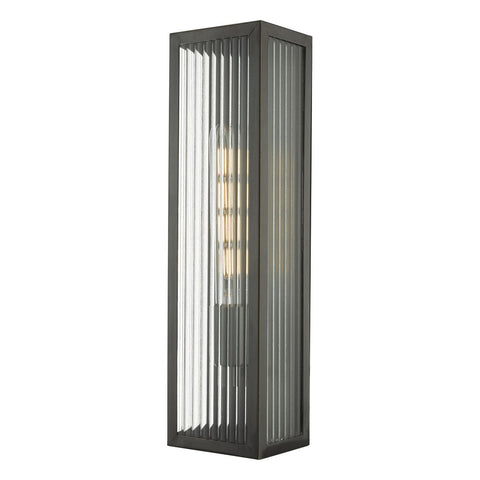 Halcrow Rubbed Bronze & Ribbed Glass Large Outdoor Wall Light - ID 9281