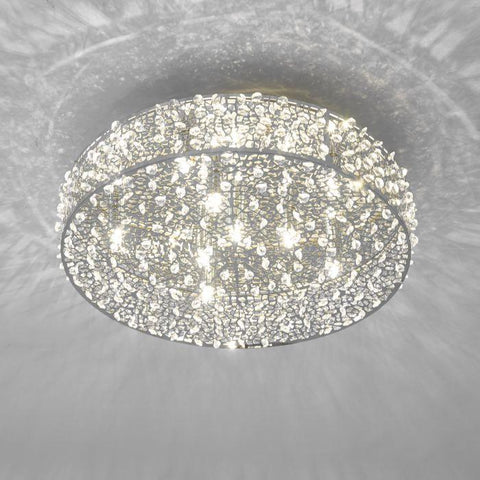 Palladium Polished Chrome and Crystal Flush Ceiling Light- ID 7004