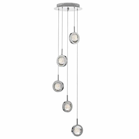 Hillingdon Polished Chrome and Glass Small Cluster Pendant  - ID 8090