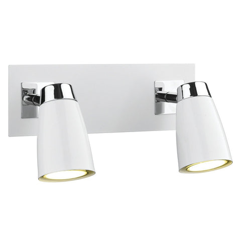 Loft Polished Chrome & Matt White 2 Lights Wall Lights - London Lighting - 1