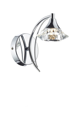 Dar Luther Polished Chrome Single Arm Wall Light - London Lighting - 1