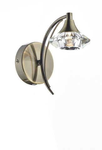 Dar Luther Antique Brass Single Arm Wall Light - London Lighting - 1