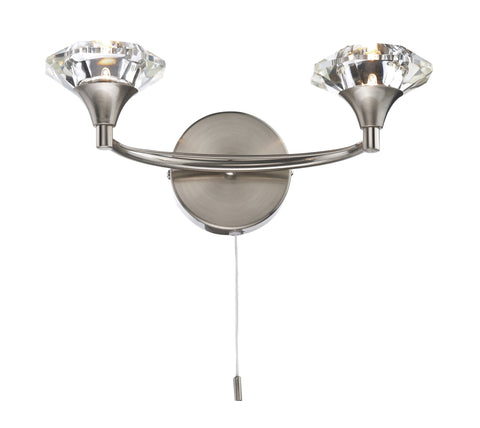 Dar Luther Satin Chrome Double Arm Wall Light - London Lighting - 1