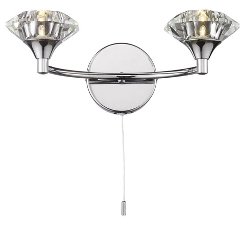 Dar Luther Polished Chrome Double Arm Wall Light - London Lighting - 1
