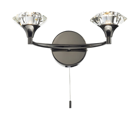 Dar Luther Black Chrome Double Arm Wall Light - London Lighting - 1