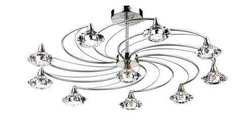 Dar Luther Satin Chrome 10 Lamp Ceiling Light - London Lighting - 1