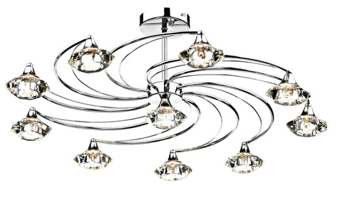 Dar Luther Polished Chrome 10 Lamp Ceiling Light - London Lighting - 1