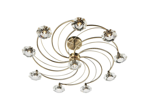 Dar Luther Antique Brass 10 Lamp Ceiling Light - London Lighting - 1