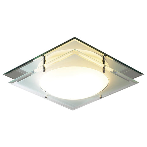 Mantra Frosted Glass Mirrored Flush Light - London Lighting - 1