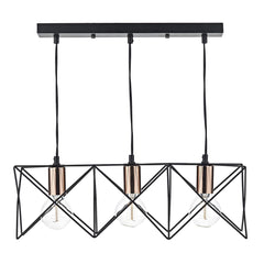 Hailes 3 Light Bar Pendant Black And Copper - ID 9380