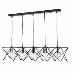 Hailes 5 Light Bar Pendant Black And Polished Chrome - ID 9379