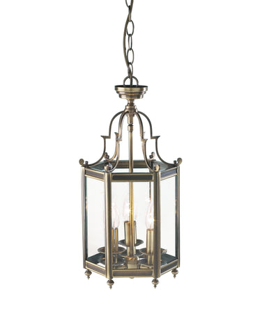 Moorgate Antique Brass Ceiling Lantern - London Lighting - 1