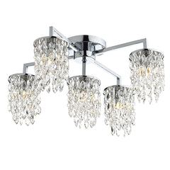 Niagra Polished Chrome Clear 5 Lights Flush Light - London Lighting - 1