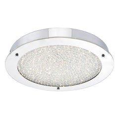 Polished Chrome and Crystal Flush Bathroom Light - ID 6890