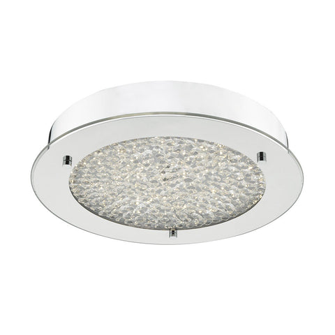 Polished Chrome and Crystal Flush Bathroom Light - ID 6856