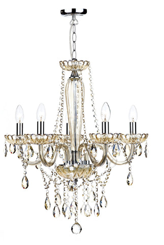 Raphael Champagne Gold 5 Lamp Chandelier - London Lighting - 1
