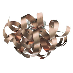 Rawley Satin Copper 4 Lights Ribbon Flush Light - London Lighting - 1