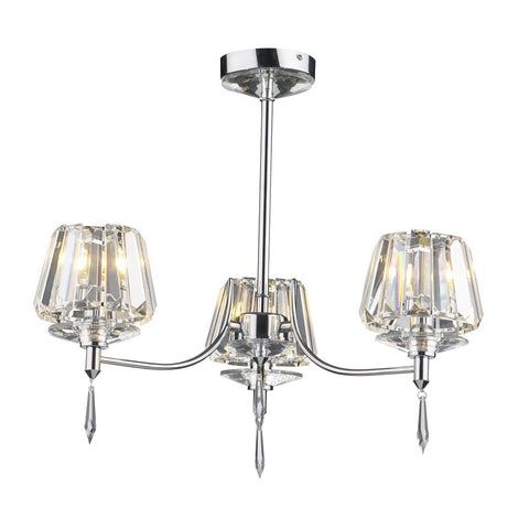 Selina Polished Chrome 3 Lights Semi-Flush - London Lighting - 1