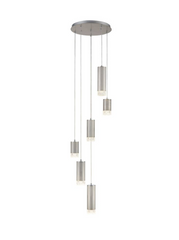 Stepton Brushed Satin Nickel & Textured Glass 6 Light Multiple Drop Pendant - ID 10631