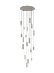 Stepton Brushed Satin Nickel & Textured Glass 18 Light Multiple Drop Pendant - ID 10634