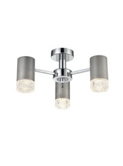 Stepton Brushed Satin Nickel & Textured Glass 3 Light Semi Flush - ID 9908