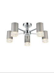 Stepton Brushed Satin Nickel & Textured Glass 5 Light Semi Flush - ID 9852