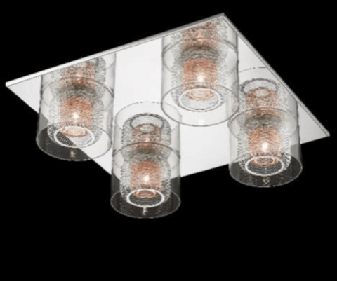 Eastcote Polished Chrome and Copper Flush Ceiling Light - ID 6401